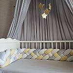 Baby-Braided-Crib-Bumper-Plush-Nursery-Cradle-Decor-Knotted-Junior-Bed-Sleep-Safety-Bedside-Padded-Plush-Cushion-for-Newborn-Gift4-Strands-WhiteYellowGray-156-inch