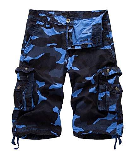 Alion Men's Camo Multi-Pockets Military Cargo Shorts Sky Blue 37