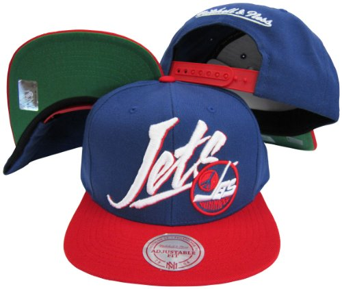 (Mitchell & Ness Winnipeg Jets Diagonal Script Blue/Red Two Tone Plastic Snapback Adjustable Plastic Snap Back Hat/Cap)