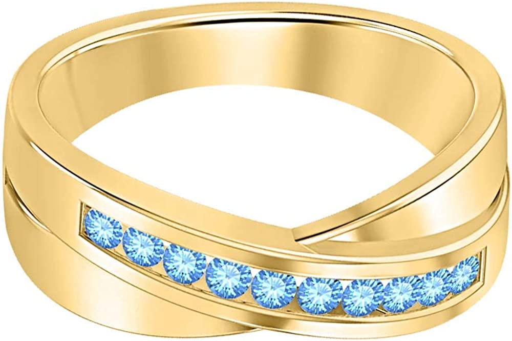 SVC-JEWELS 14K Yellow Gold Over 925 Sterling Silver Round Cut Blue Topaz Criss Cross X Wedding Band Ring Men