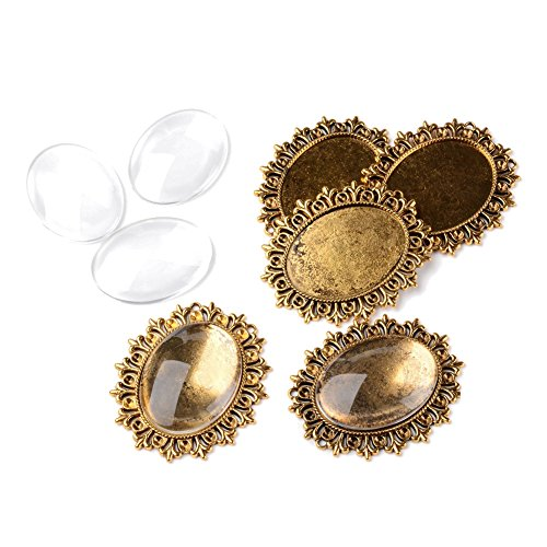 (Pandahall 5Sets Tray:40x30mm Anqitue Golden Oval Alloy Tiebetan Style Pendants Cabochons Bezel Blank Setting Cover with Transparent Oval Glass Cabochons Magnify Lead Free & Nickel Free)