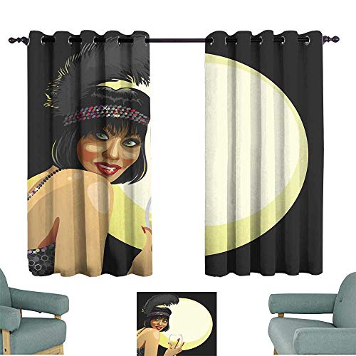 YOFUHOME Simple Curtain Funny Girl with Glass of Champagne Moon Background Retro illustr Noise Reducing 63