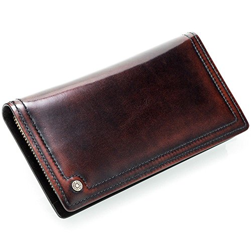 zipper LIGYM bag face purse Hard square Men's term long leather erect retro qwqnxUvr