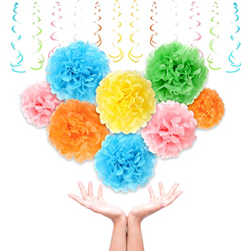 Colorful Tissue Paper Pom Poms By Treasures Gifted | 15 Pcs, Assorted Sizes & Rainbow Colors For The Ultimate Party, Wedding or Birthday Decorations (Rainbow) (4th Of July Cake Pops Ideas)