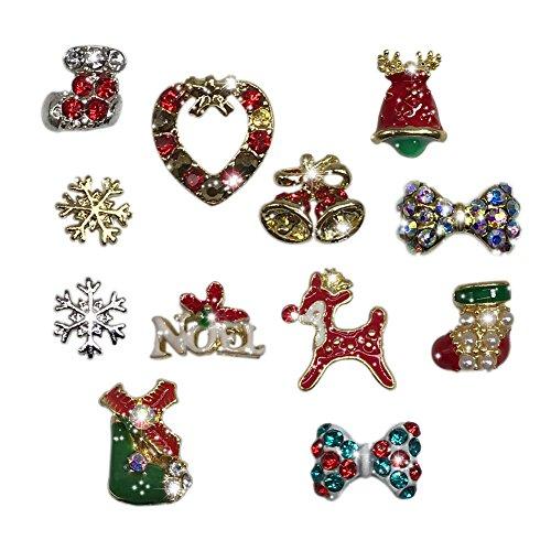 12pc/bag Christmas 3D Alloy Nail Charms Nail Art Decoration Bling - Bling Christmas