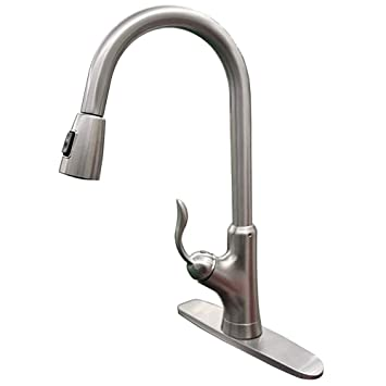 Aspa Commercial Kitchen Faucet High Arc Brushed Nickel Single