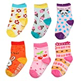TotMart Toddler Assorted Non Skid Ankle Cotton Socks 3-4T, 6 Pack (Mix4)