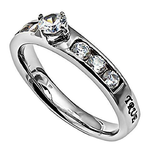 TLW Princess Solitaire Promise Ring Silvertone Stainless Steel with Verse (1 Tim 4:12) in Gift Bag