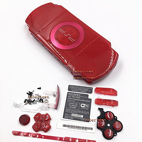 NEW Replacement Sony PSP 2000 2001 2002 2003 2004 Series Console Full Housing Shell Cover With Button Set - Red