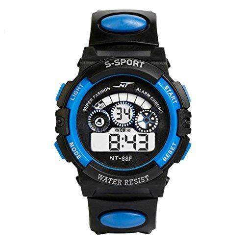Watch Sports,BCDshop Boy's Multifunction Waterproof Digital LED Quartz Alarm Date Sports Wrist Watch Gift (Blue, alloy)