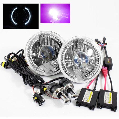"UPC 671635528155, Modifystreet 12000K Purple H4-3 Hi/Low Slim HID/7"" Round H6014/H6015/H6024 Chrome Crystal Headlights with White LED Ring"