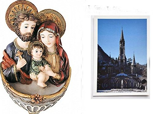 Holy Family Holy Water Font by Florentine & Lourdes Prayer Card