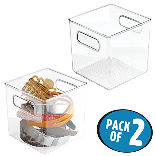 mDesign Bathroom Cube Storage Bin for Shampoo, Body Wash and Accessories - Pack of 2, Clear by mDesign