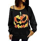 Changeshopping Women Halloween Pumpkin Print Long Sleeve Sweat Pullover Tops Shirt (L, Black)