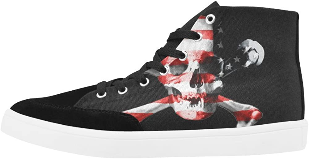 D-Story Custom Jolly Roger Skull High Top Shoes for Men Canvas Shoes Fashion Sneaker