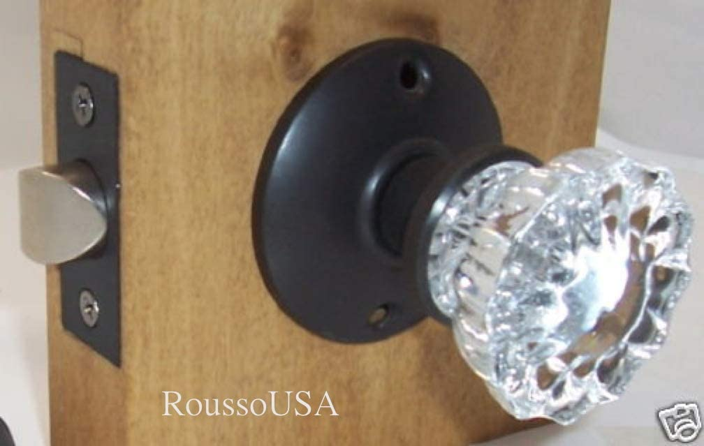 Oil Rubbed Bronze Roussos Reproductions Crystal Antique Replica Surface Mount Dummy French Door Knob Set for One Side of Two Doors or Both Sides of One Door and Decorating Ideas with Faux Knobs