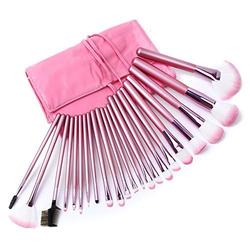 Afoxsos-Womens-71518202232-Pieces-Makeup-Brushestools-Make-Up-Case-Kits-With-Bags-22-Pieces-Pink-by-Afoxsos