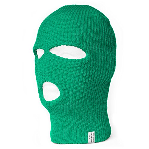 TopHeadwear 3 Hole Ski Mask Balaclava, Kelly Green