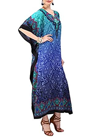 Miss Lavish London Women Kaftan Tunic Kimono Free Size Long Maxi Party Dress for Loungewear Holidays Nightwear Beach Everyday Cover Up Dresses #101 [Blue 10-16]