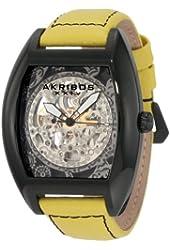 Akribos XXIV Men's AKR454YL Premier Skelton Automatic Tourneau Shaped Watch
