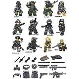 Set Includes 12 Mini Force SWAT TEAM Figures, Tank Unit, Weapons, Plus Military Accessories (Lego Compatible)