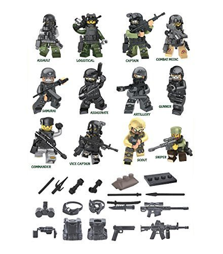 Set Includes 12 Mini Force SWAT TEAM Figures, Tank Unit, Weapons, Plus Military Accessories (Lego Compatible) -