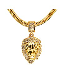 TIDOO 18K Gold Plated LION Head Rhinestones Pendant Hip Hop Chain Necklaces