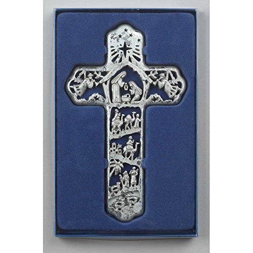 (Nativity Scene Cross Brushed Silver Tone 7 x 12 Resin Stone Christmas Wall Sign Plaque)