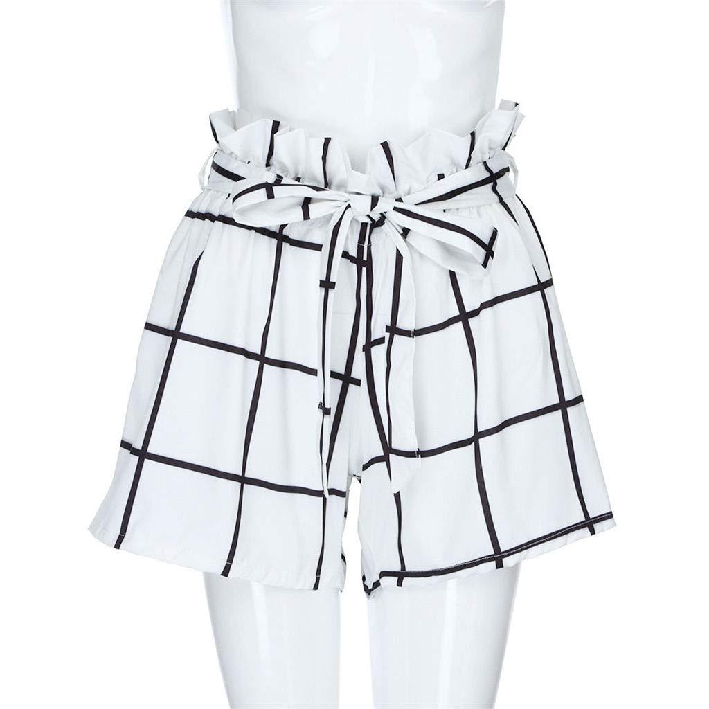 Fanteecy Women Casual Elastic Waist Striped Summer Shorts Teen Girl Cute Sports Beach Shorts Lounge Walking Shorts w//Pockets