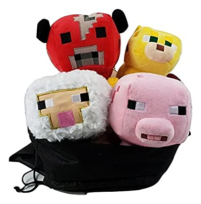 Minecraft Animal Plush Set of 4: Baby Pig, Baby Mooshroom, Baby Sheep, Baby Ocelot 6-8 Inches, 4Pcs Set - Comes with a Free Gift - 4 Minecraft Balloons by Sun Star Toys