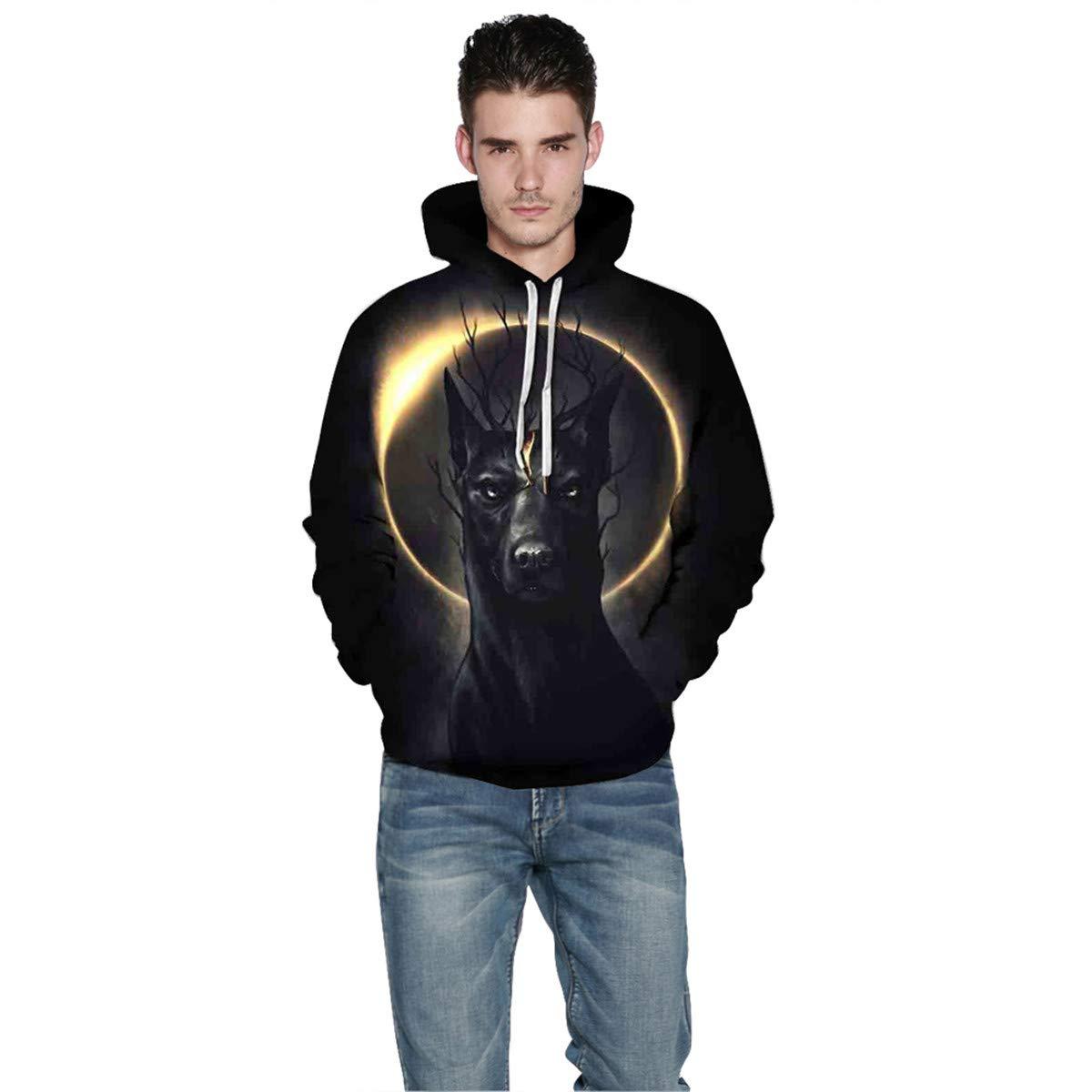 Mens Hooded Long Sleeve 3D Digital Print Lighting Wolf Heads Design Couple Pullover Hoodies Fashion Hoodies Baseball Outwear