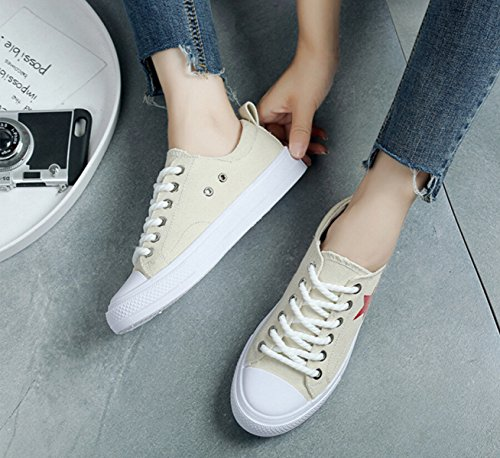 Flat Star Mouth Beige Shallow Round Star Shoes With Head Canvas Xx6wYF