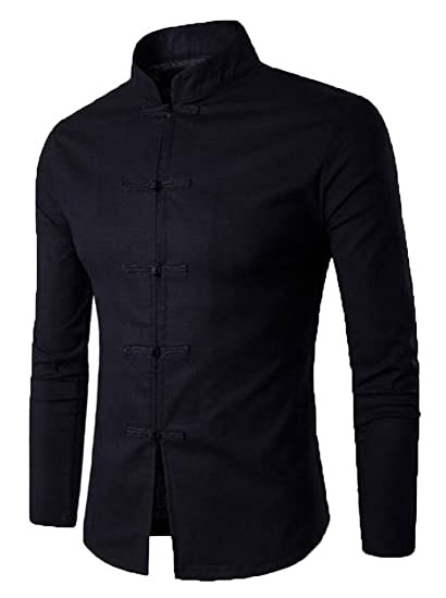 5a147680 Beloved Men's Chinese Style Stand Collar Linen Button Shirt at Amazon Men's  Clothing store: