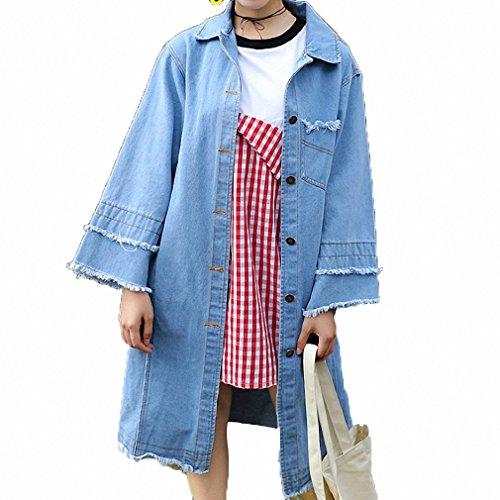 Huiwa Womens Denim Jacket Vintage Tassel Design Long Sleeve Loose Windbreaker Jeans at Amazon Womens Coats Shop