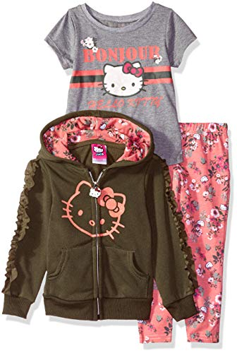 Hello Kitty Big Girls 3 Piece Hooded Set with T-Shirt and Printed Leggings, Olive 7 ()
