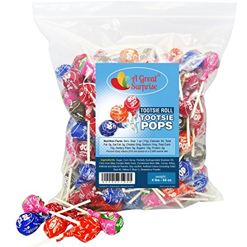 Tootsie Pops - Tootsie Roll Pops - Assorted Flavored Lollipops, Bulk Candy 4 LB Party Bag Family Size ()