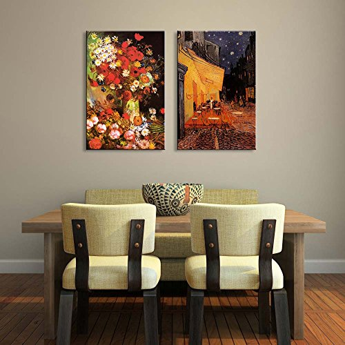 Cafe Terrace at Night Still Life Paintings with Flowers by Vincent Van Gogh Oil Painting Reproduction in Set of 2 x 2 Panels