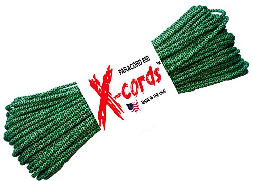 Braid Green Bracelet - X-CORDS Paracord 850 Lb Stronger Than 550 and 750 Made By Us Government Certified Contractor (Zombie Green Diamond 100')