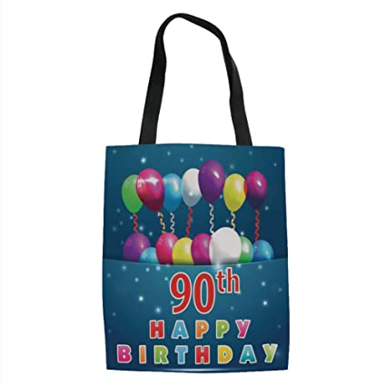 IPrint 90th Birthday DecorationsJoyful Surprise Party Mood Best Wishes Balloons Swirls Age Ninety