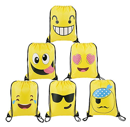 BeeGreen Emoji Party Supplies Favors Bags Drawstring Backpacks for Kids Teens Boys and Girls Birthday Goody Gift 6 Pack (Yellow) for $<!--$8.99-->