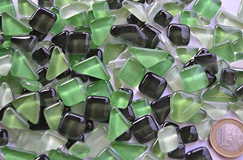 Glas- Mosaiksteine unregelmäßig. (Soft-Glas) Grünmix 200g ca.130-150St.