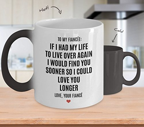Fiancee Color Changing Mug - My Life - Funny Magical Appearing Morphing Heat Sensitive Magic Coffee Cup For Future Wife