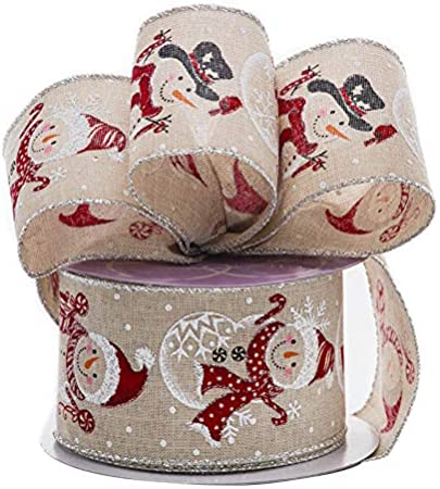 """New Snowman White Faux Burlap Wired Ribbon 2.5/"""" Wide 3 Yards 9 feet"""