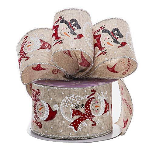 Christmas Snowman Wired Edge Ribbon – 2 1/2″ x 10 Yards, Red White Snowmen, Faux Natural Burlap, Gifts, Bows, Wreath, Presents, Boxing Day, Winter Decor, Gift Basket