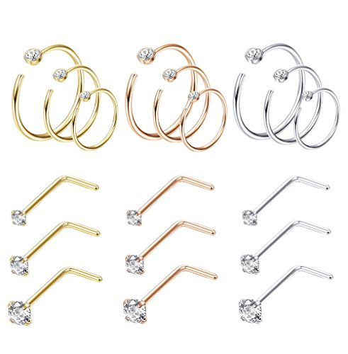 Jstyle 18Pcs Nose Rings Hoop Stainless Steel 20G Screw CZ Nose Studs Piercing Ring Hoop Body Jewelry Set