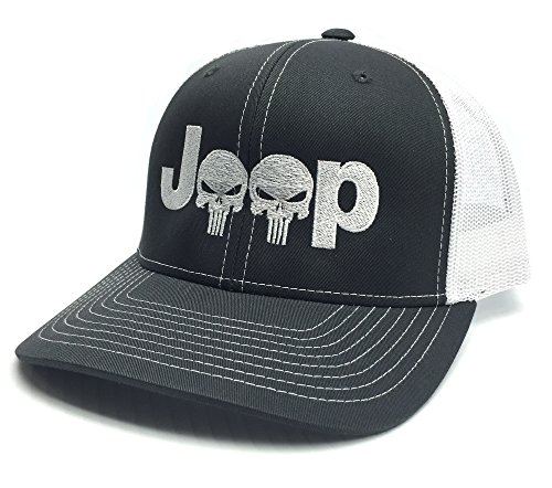 Charcoal Cap Skull (Jeep Logo With Punisher Skull Symbol Embroidered Mesh/Twill Cap (White/Charcoal))