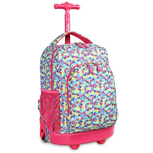 New York Mets Pencil - J World New York Sunny Rolling Backpack, Floret, One Size