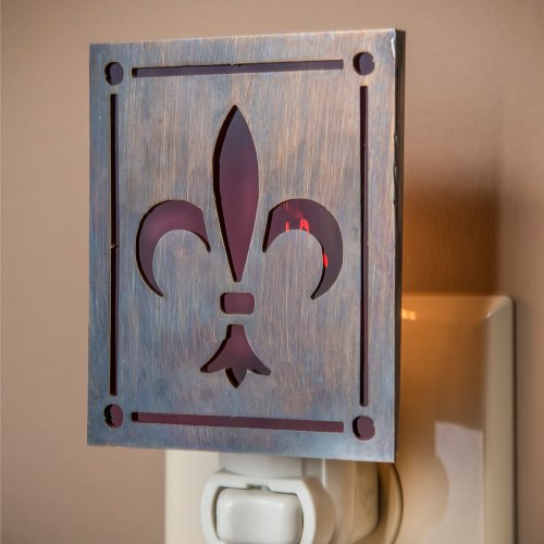 J Devlin NTL 145 Fleur de lis Night Light Metal Overlay on Purple Stained Glass Decorative French Design Cut Overlay Glass