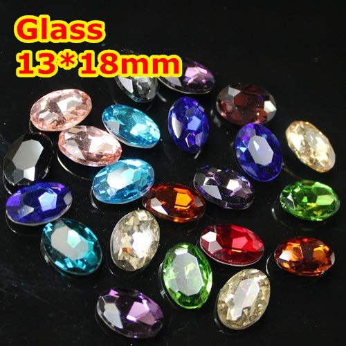 Kamas 128pcs 1318mm Oval Fancy Stone Pointed Back Glass Crystals MORE COLORS For Choice,DIY Wedding Dress/Jewelry making - (Color: Peridot 128pcs)