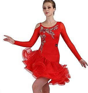 MoLiYanZi Robes de Danse Latine pour Les Femmes Performance Costume de Compétition Latine Maille Asymétrique à Manches Longues avec Broderie